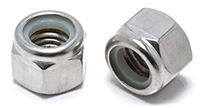 """Lock Nut 1/4""""-20 Inch Stainless Steel Finish Hex, By Bolt Dropper, 304 18-8 Stainless Steel With Nylon Insert"""
