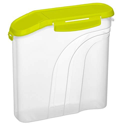 Rotho Fresh Müslibox 2,2l mit aromadichtem Deckel und Schüttöffnung, Kunststoff (PP) BPA-frei, transparent/grün, 2,2l (22,0 x 8,0 x 22,0 cm)