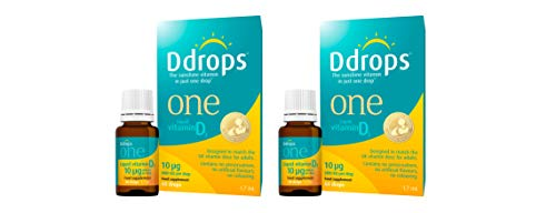 Ddrops One 10ug (400 IU) Vitamin D Food Supplement Liquid 60 Drops for Adults & Children (Duo Pack)