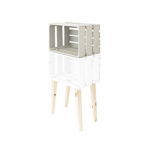 Decowood DCW02 Estantería Vertical 2 Cajas de 3 Lamas con Patas, Madera, Multicolor, 50x25.5x110 cm