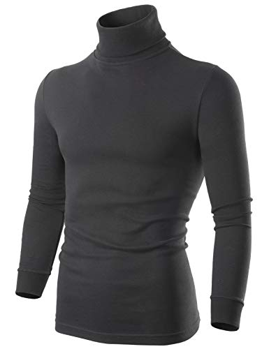 SERHOM Mens Black Turtleneck Sweater, XL Casual Thermal Long Sleeve Turtleneck for Men, X-Large