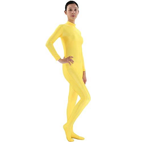 Mujer Mono Ajustado Spandex Manga Larga Maillot Completo Body Medias Bailarina Danza Traje Cosplay Disfraz Yoga Jumpsuit Amarillo L