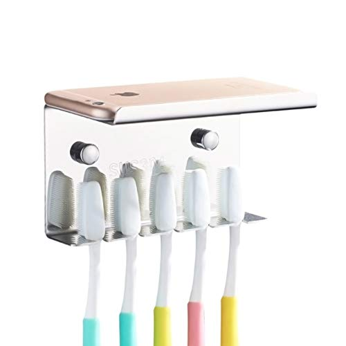 Wall Mounted Toothbrush Holder with Shelf, 304 Stainless Steel 3M...