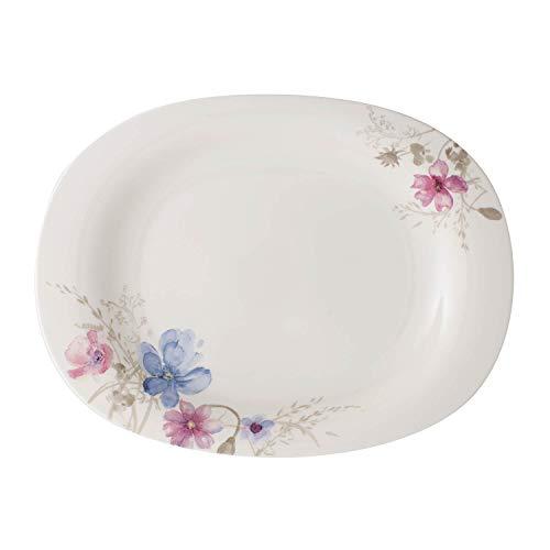 Villeroy & Boch Mariefleur Gris Basic Servierplatte, Premium Porzellan, Weiß/Bunt
