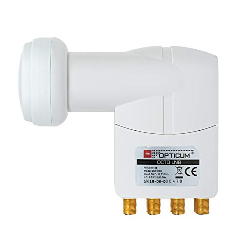 RED OPTICUM LOP 04H Octo LNB I Digital-LNB 8-fach mit nur 0.1dB Rauschmaß und ausziehbarem Wetterschutz I Full HD - 3D - UHD - 4K Ready I Sat-LNB für 8 Teilnehmer zum Direktanschluss