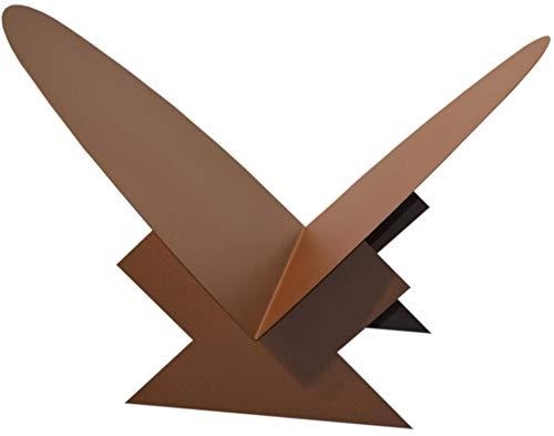 Kaminholzschale Innen aus Metall Dreieck mit ovaler Auflage - Corten Effect