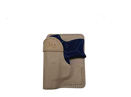 J&J Custom Fit Smith and Wesson S&W M&P Bodyguard 380 BG380 Premium Natural Leather Wallet Style Premium Leather Back/Cargo Pocket Holster (Right)