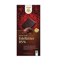 GEPA Bio Grand Noir Edelbitter 85% Kakao Flach-Tafel-Schokolade 1 Karton (10 x 100g)