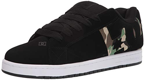 DC mens Court Graffik Sq Skate Shoe, Black/Camo Print, 15 US