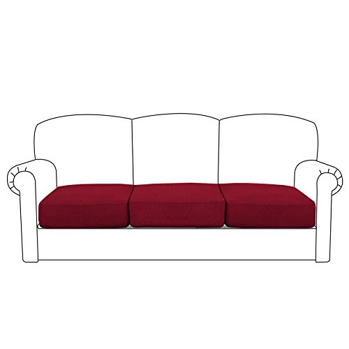 BellaHills Sofa Sitzkissenbezug Stretch Stuhl Schonbezug Spandex Elastic Couch Kissenbezüge Möbelschutz für Sofa Sitzkissen(3 Sitzer Kissen, Wein
