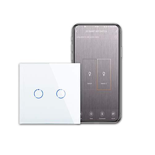 CNBINGO Interruptor de luz Wi-Fi, interruptor táctil inteligente, funciona con Alexa/Google Home, panel táctil de cristal y LED de estado, 2 interruptores de 1 polo, color blanco.
