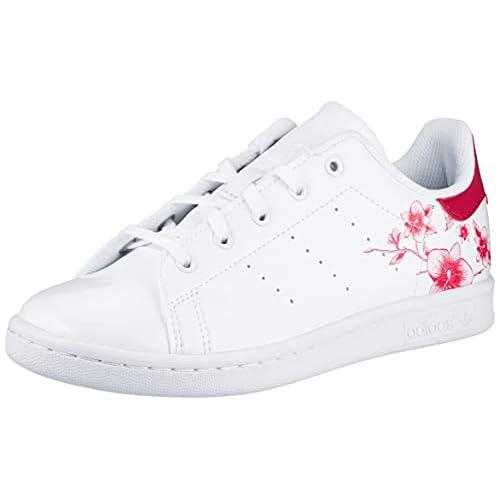 adidas Stan Smith, Scarpe da Ginnastica, Footwear White/Footwear White/Bold Pink, 36 2/3 EU