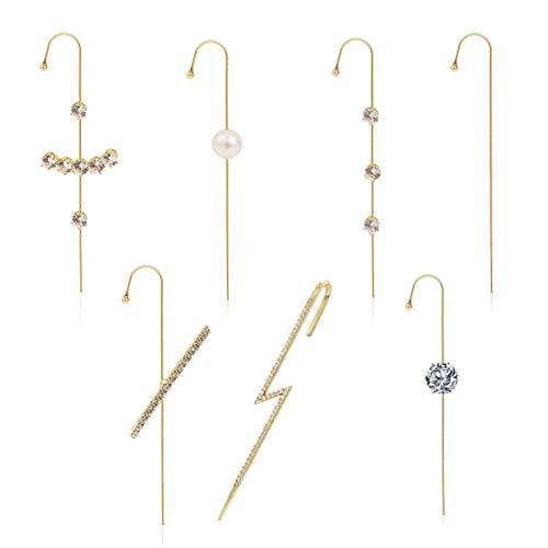 Yolistar Orecchio Wrap Crawler Hook Ear Wrap Crawler Orecchini 7 Pack, Unico Lega Strass Geometrico Orecchini per le Donne e Ragazze San Valentino Festa di Compleanno Regalo