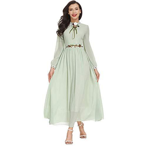 WUDUBE Mode Frauen moslemische Robe, Muslim Muslim Solid bestickten arabischen Kostüm Islam Jilbab Kleid