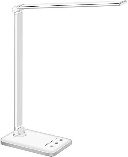 Lámpara Escritorio LED, Flexo de Escritorio (Cuidado Ocular, Puerto USB, 5 Modos,10 Niveles de Brillo,Temporizador de 30/60min, Función de Memoria) ✅