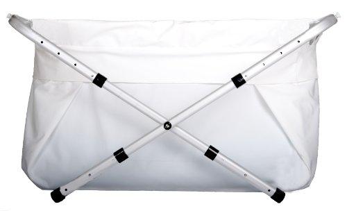 Faltbare Babybadewanne Bibabad - Rutschfeste, tragbare Badewanne für Dusche mit Rahmen - Geeignet für Kinder von 1 bis 8 Jahren - Babybadezubehör für Kleinkinder - Weiß 60-80 cm