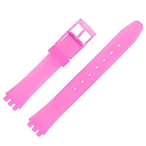 Shopkdo - Correa de reloj de 12 mm, color malva adaptable para Swatch P38 Ladies