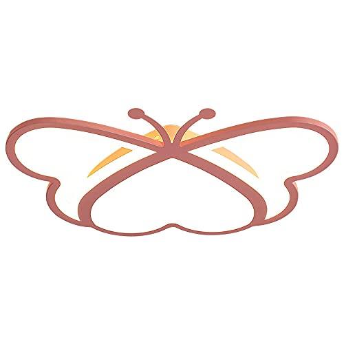 Lámpara De Techo Ultradelgada De Dibujos Animados Con Diseño De Mariposa De Amor Geométrico Rosa LED, Pantalla De Acrílico De Montaje Empotrado De 40 W, Protección Para Los Ojos De 3 Colores Regulable