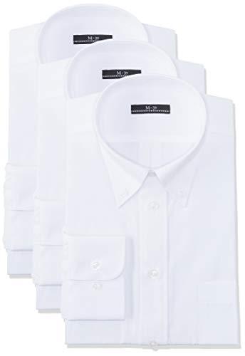 [アトリエサンロクゴ] 白ワイシャツ 長袖 3枚セット 形態安定 ビジネス 冠婚葬祭 メンズ ボタンダウンホワイト M(39-82)(日本サイズM相当)