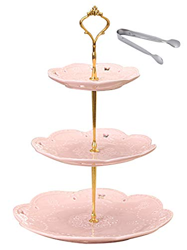 Jusalpha 3-tier Pink Ceramic Cake Stand/Cupcake Stand/Dessert Stand/Tea Party Pastry Serving Platter/Food Display, Stand, Comes In a Gift Box- Free Sugar Tong, Pink