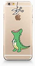 DECO FAIRY Compatible with iPhone 8 / 7, Cartoon Anime Animated Good Green Dinosaur Eating Fruit Scissor Cut Rope Jurassic World park Series Transparent Translucent Flexible Silicone Clear Cover Case