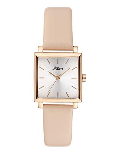 s.Oliver Damen Analog Quarz Uhr mit Leder Armband SO-3817-LQ