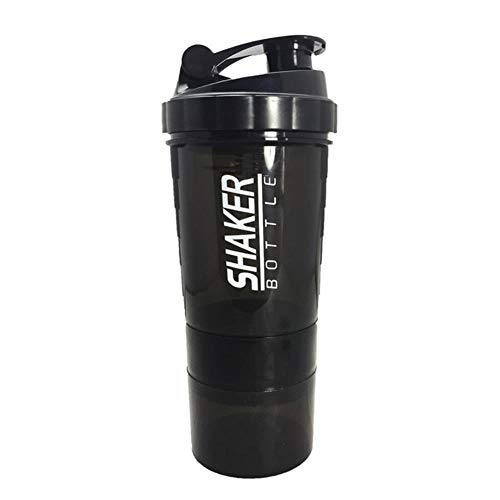 LVYIN Creative Protein Powder Shaker Bottle Mixing Whey Protein Water Bottle Sports Shaker for Gym Powerful Leakproof,Black,500ml