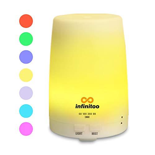 Luftbefeuchter   infinitoo 300ml Ultraschall Aroma Diffuser   Aromatherapie Diffusor   Abschaltautomatik Raumbefeuchter mit 7 LED Farbwechsel fuer Wohnzimmer, Kinderzimmer, Schlafzimmer,SPA, Buero