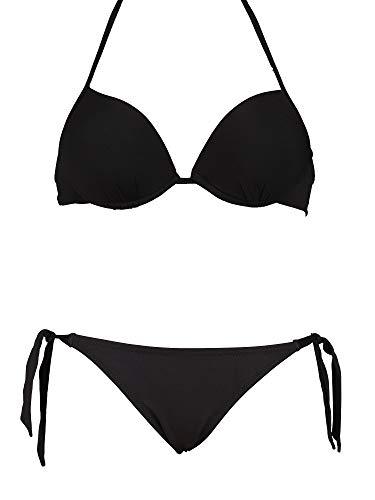 Bikinicolors Bikini Super Push Up con Slip o Brasiliana con Fiocchi Ribattuti   Made in Italy S con Slip XS/S (Top 42 con Slip 38/40), Nero