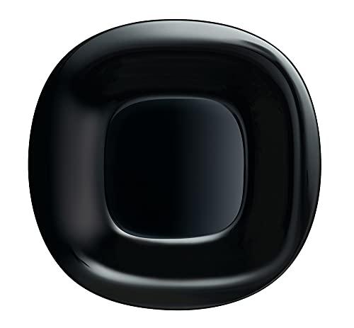 Luminarc P1870 Carine - Plato llano (6 unidades, cristal), color negro