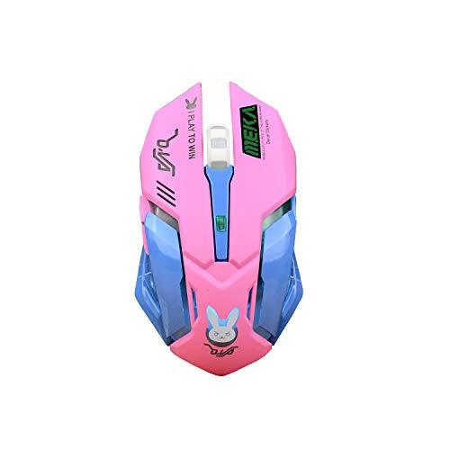 Zienstar Schöne Gaming-Maus, wiederaufladbare 2,4-GHz-Funkmäuse mit USB-Empfänger, 7 Farben mit Hintergrundbeleuchtung, stille Tasten für MacBook,Computer-PC, Laptop(D.VA) -Pink