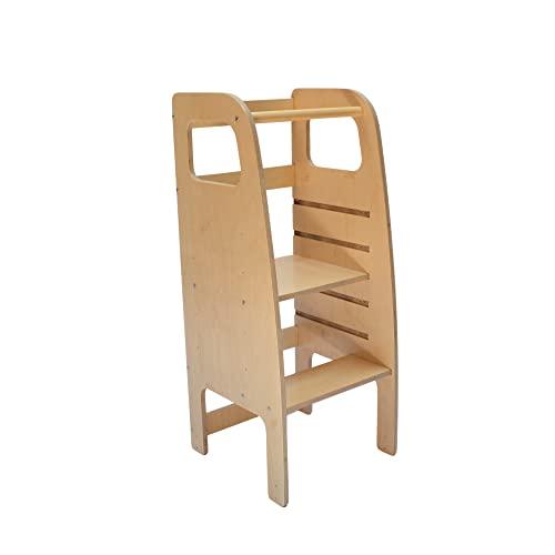 AtviKids Torre Montessori Con 5 Altezze Regolabili   Ayudante Cocina   Taburete Cocina   Torre Actividades   Taburete Escalada (Transparent)