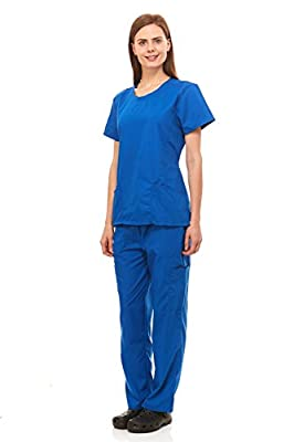 Scrubs For Women Medical Nurses Uniform Ribbed Round Neck Top & Pants 7 Pocket Full Set Excellent Quality By Denice 1097