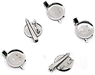DIY Brooch,Jewelry Making Accessories 30pcs Silver Round Dual Brooch with Safe Lock pin and Hair Clip (23mm)