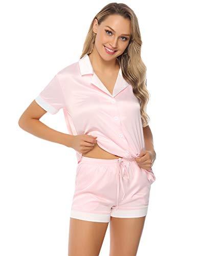 Aibrou Pijamas Mujer Verano Corto 2 Piezas Pijama de Saten Manga Corta Ropa de domir Sexy para Salón