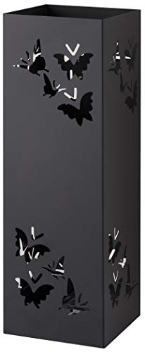 Baroni Home Paragüero cuadrado de metal con incrustación rectangular de mariposas negras 15,5x15,5x49 cm con gancho y bandeja recogegotas extraíble