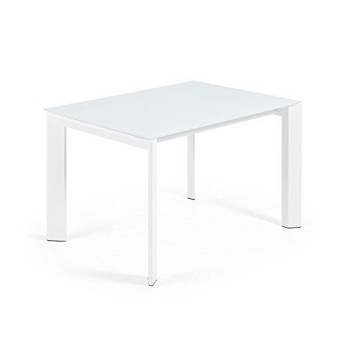 Kave Home - Mesa de Comedor Extensible Axis Rectangular 120 (180) x 80 cm Blanca de Cristal y Patas de Acero en Blanco