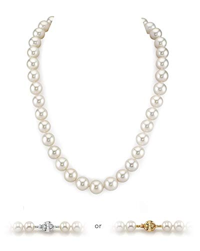THE PEARL SOURCE 14K Gold 6.5-7.0mm AAA Quality Round White Freshwater Cultured Pearl Necklace for Women in 18' Princess Length