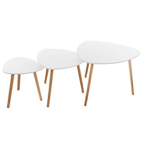 Atmosphera - Lot de 3 Tables à café Mileo Blanches - Blanc
