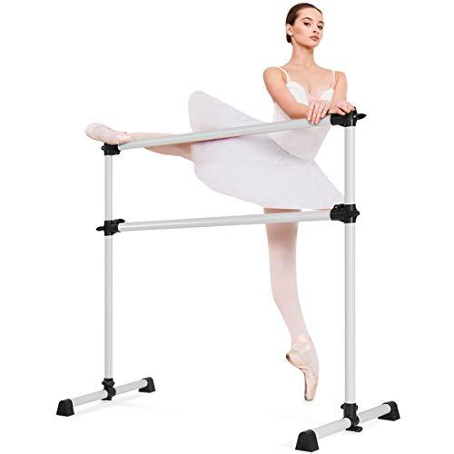 COSTWAY Sbarra da Balletto Doppia Regolabile, Sbarra da Balletto Regolabile Ecologica,120 x 118 x 71 cm (Argento)