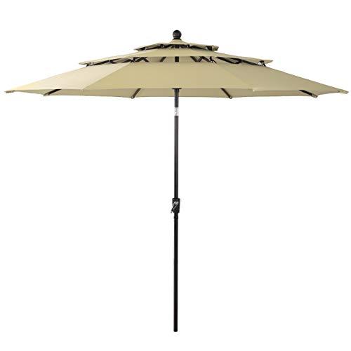 PHI VILLA 10ft 3 Tier Auto-tilt Patio Umbrella Outdoor Double