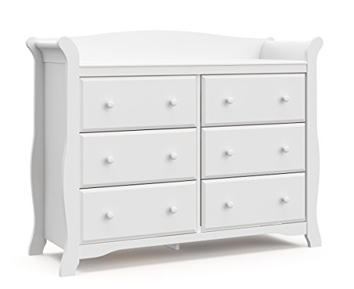 Storkcraft Avalon 6 Drawer Universal Dresser, White, Kids Bedroom Dresser with 6 Drawers, Wood and Composite Construction, Ideal for Nursery Toddlers Room Kids Room