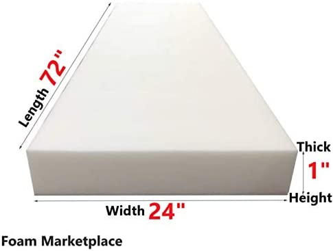 Best Foam Marketplace High Density Upholstery Foam Length 72 Width 24 Height 1 Inches 1.8 Pound Density a