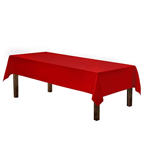 """Gee Di Moda Rectangle Tablecloth - 60 x 126"""" Inch - Red Rectangular Table Cloth for 8 Foot Table in Washable Polyester - Great for Buffet Table, Parties, Holiday Dinner, Wedding & More"""