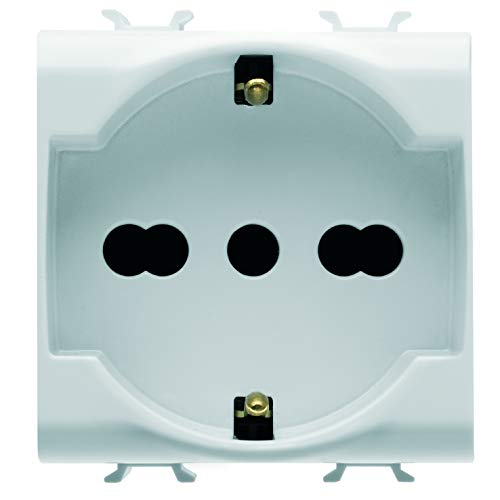 Gewiss GW10204DY - Toma estándar italiano/alemán 250 V AC, 2P+T 16 A bivalente, 2 módulos, blanco, serie Chorus