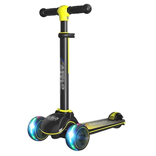 Niños Pequeños Scooter 3-12 Años 4 Manillar Ajustable con Ruedas Flash Boys Extra-Wide Girls Gifts ( Color : Yellow )