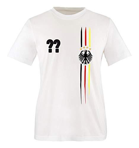 Comedy Shirts - WM 2018 | M1 | VORNE + HINTEN | Wunsch - Herren T-Shirt - Weiss/Schwarz-Rot-Gelb Gr. M