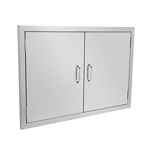 ROVSUN Außenküchen-Zugangstür, 76,9 cm B x 53,3 cm H, doppelwandige Grill-Zugangstür, robuster 304 Edelstahl, perfekt für Outdoor-Küche und Grillinsel