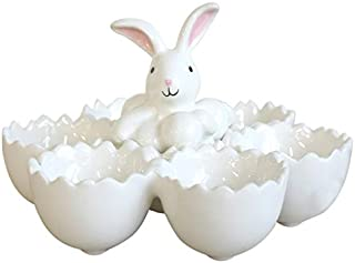 Prescott Bunny Glossy Cream 7 x 4 Dolomite Ceramic Easter Egg Tray Dish
