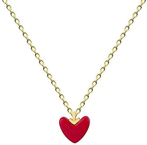 Collar Cadena de corazón rojo pequeño Collar colgante de color plateado para mujer Joyería Regalo de cumpleaños o vacaciones para mujeres y niñas Collar colgante Regalo para mujeres Hombres Niñas Niño
